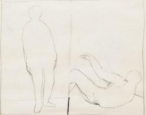 Artwork by Richard Ciccimarra, Standing Figure and Fallen Figure; Walking Figure and Seated Figure