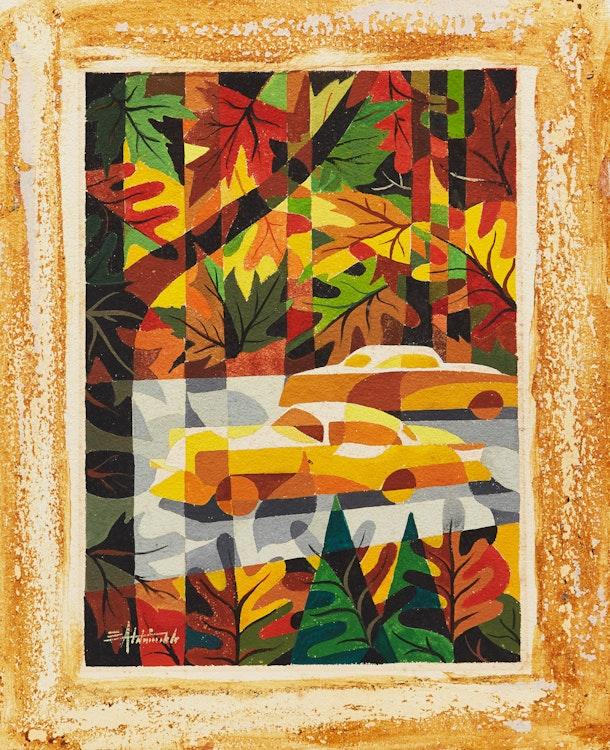 Artwork by Eric Aldwinckle,  Autumn Cars; Petrochemicals