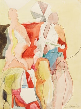 """Artwork by James Gordaneer, Abstract Figures; Working Drawing for """"Clown Alley""""; Working Drawing for """"Harem"""""""