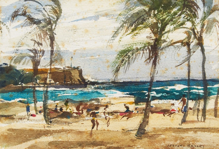 Artwork by Frank Leonard Brooks,  Sun Catchers on the Beach; By the Shore