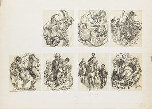 Artwork by Lewis Parker, Seven Drawings of Figures and Animals