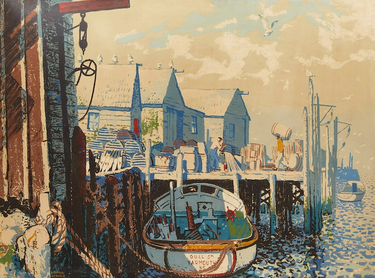 Artwork by George Franklin Arbuckle,  Down by the Sea