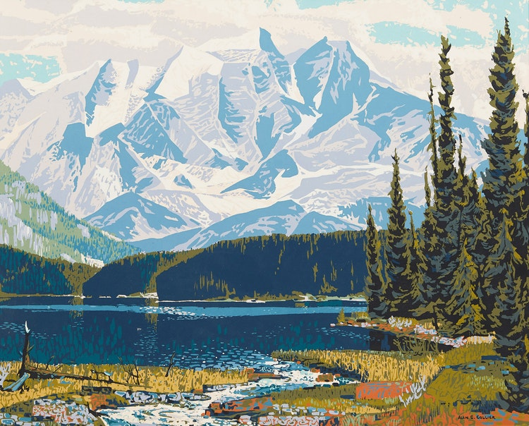 Artwork by Alan Caswell Collier,  Emerald Lake (trimmed)