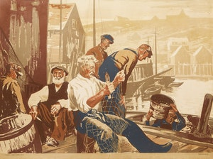 Artwork by Joseph Ernest Sampson, Veterans of the Sea (original colour palette)