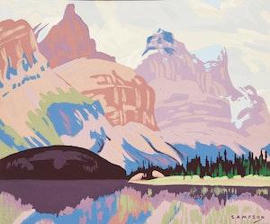 Artwork by Joseph Ernest Sampson, Maligne Lake