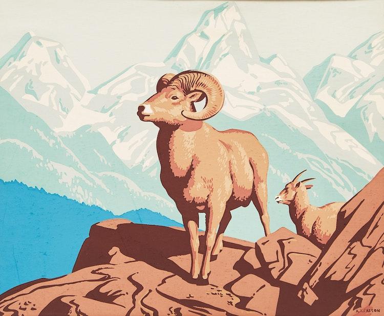 Artwork by Alfred Joseph Casson,  Rocky Mountain Sheep