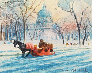 Artwork by Willard Morse Mitchell, The Little Red Sleigh, A Scene at Dominion Square, Montreal