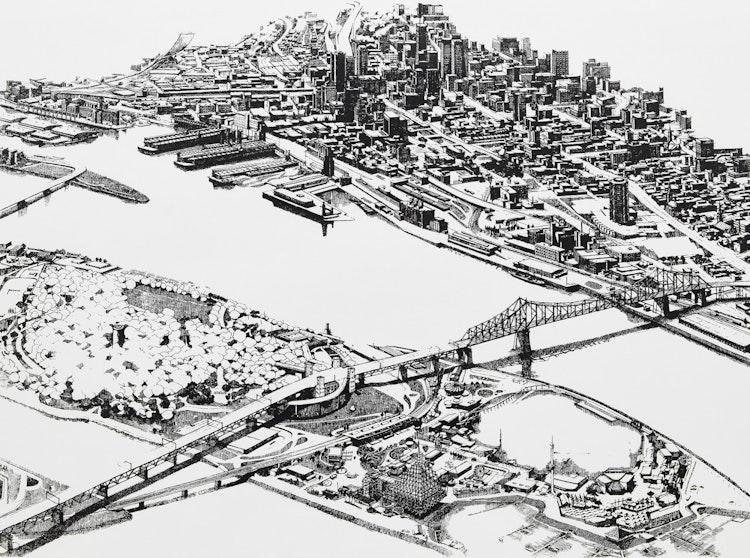 Artwork by Enid Robbie,  Montreal, 1976 (In Praise of Cities 6, 5/5)