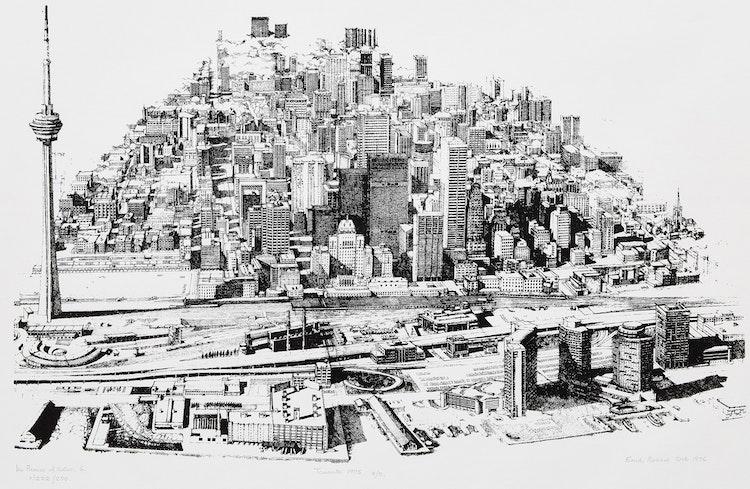 Artwork by Enid Robbie,  Toronto, 1975 (In Praise of Cities 6, 3/5)