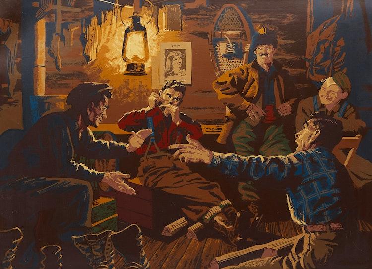 Artwork by Charles Fraser Comfort,  The Bunkhouse Scene