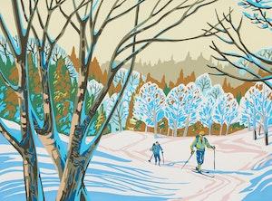 Artwork by Paul Gauthier, Three Skiing Scenes