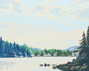 Artwork by Paul Gauthier, Morning Mist; Algonquin Lake