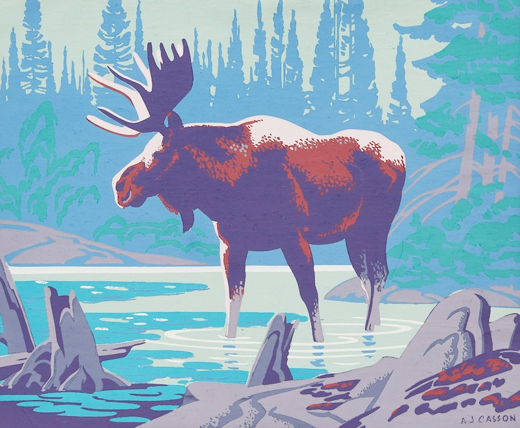 Artwork by Alfred Joseph Casson,  Moose