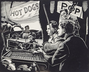 Artwork by Leonard Hutchinson, Workers Picnic