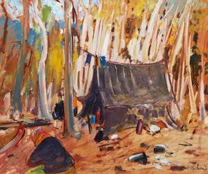 Artwork by Rene Richard, Campement de trappeurs en forêt