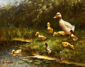 Artwork by Hendrik Breedveld, Mother and Ducklings at Water's Edge