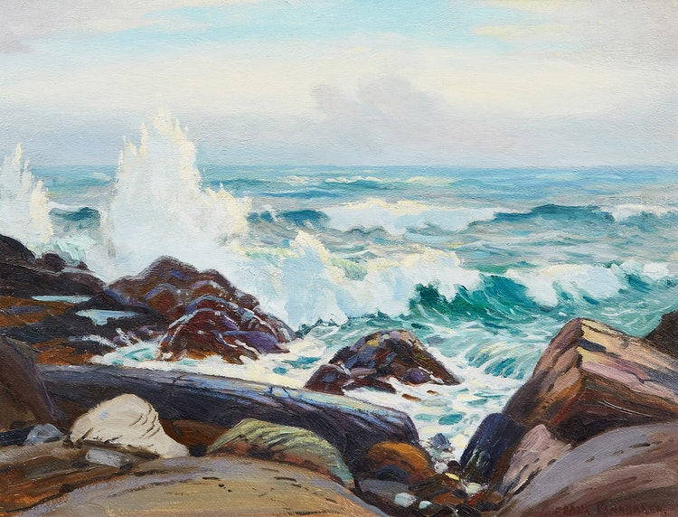 Artwork by Frank Shirley Panabaker,  Rocky Shoreline