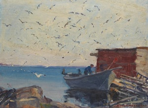 Artwork by Manly Edward MacDonald, Fisherman, Dory and Gulls at Wharf