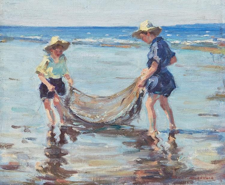 Artwork by Manly Edward MacDonald,  Duncan and Sally MacDonald at the Lake