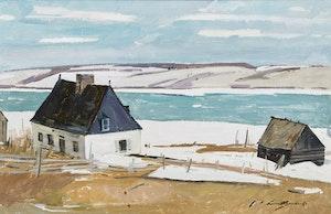 Artwork by George Lorne Holland Bouchard, Manoir de Charlesville - Boischatel, P.Q. (Beaupre Coast)