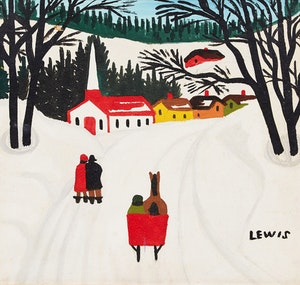 Artwork by Maud Lewis, Winter Sleighing Scene