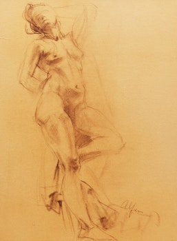 Artwork by John Alfsen, Female Nude