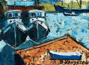 Artwork by Albert Rousseau, Boats at the Harbour