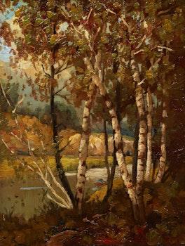 Artwork by J. Archibald Browne, Birches by a Lake