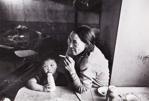 Artwork by John Reeves, Inuit Woman and Child; Inuit Woman Carving and Child