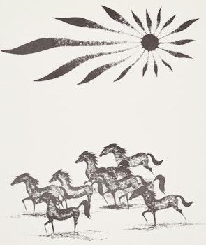 Artwork by Benjamin  Chee Chee, Running Horses; Black Bear