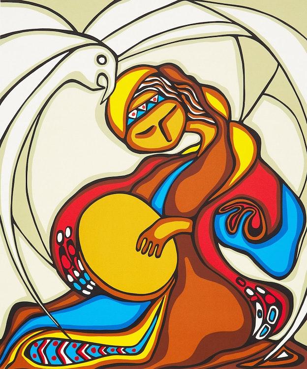 Artwork by Daphne Odjig,  Folksinger