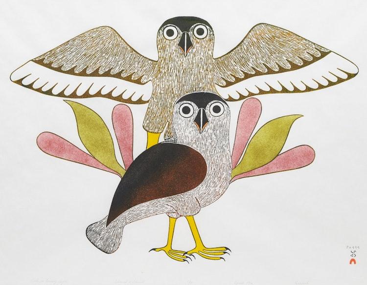 Artwork by Kenojuak Ashevak,  Owls in Evening Light