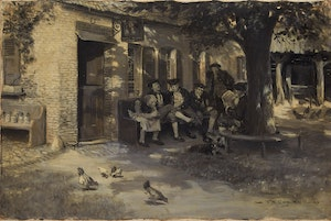 Artwork by Frederick Simpson Coburn, Here they used to sit in the shade through a long, lazy summer's day