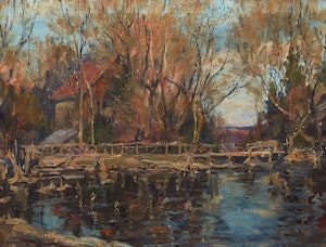 Artwork by Manly Edward MacDonald, The Silent Pool - Old Mill on Severn