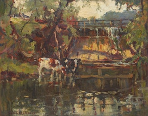 Artwork by Manly Edward MacDonald, Two Cows Watering Downstream of a Dam