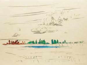 Artwork by Dorothy Elsie Knowles, Trees Behind a Lake