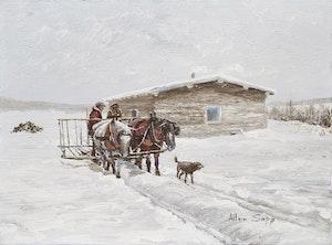Artwork by Allen Sapp, Going to Get Some Hay