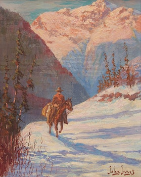 Artwork by John Innes, Rider through Snow