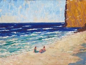 Artwork by Alexandre Bercovitch, Beach at Percé
