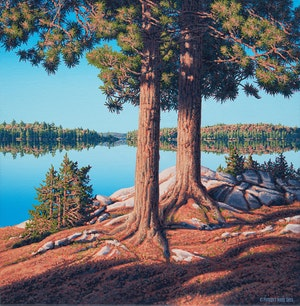 Artwork by E. Robert Ross, Shoreline, Lake Opeongo, Algonquin Park