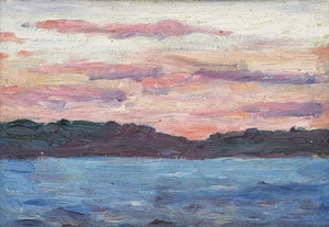 Artwork by Gordon McKinley Webber, Sunset on Mary Lake