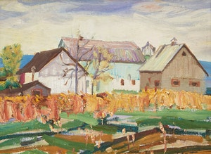 Artwork by Albert Edward Cloutier, Farm Landscape