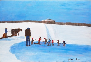 Artwork by Allen Sapp, Playing Hockey