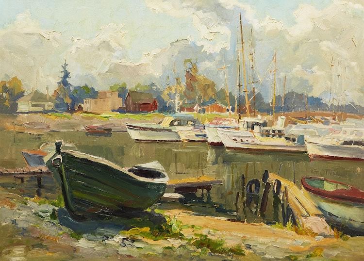 Artwork by Guttorn Otto,  Harbour Scene