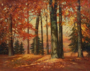 Artwork by Frank Shirley Panabaker, Woodland Scene