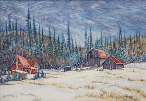 Artwork by Lawrence Nickle, Winter Landscape with House and Barn