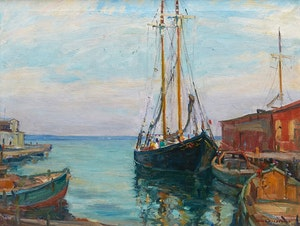 Artwork by Manly Edward MacDonald, Schooner, North Sydney Wharf, N.S.