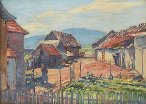 Artwork by Frederick William Hutchison, Barns, Baie St. Paul