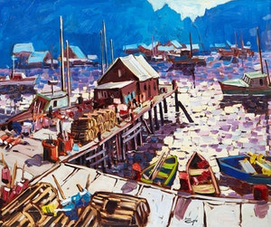 Artwork by Bruno Côté, Fishing Village, Newfoundland