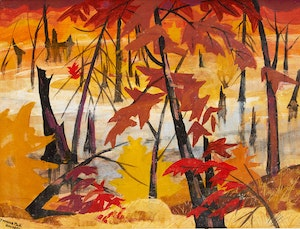 Artwork by Yvonne McKague Housser, Sunset in the Swamp